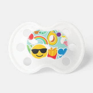 Fun Emoji Sticker Pattwern Pacifier