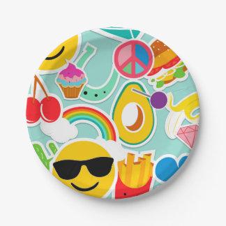 Fun Emoji Sticker Pattwern Paper Plate