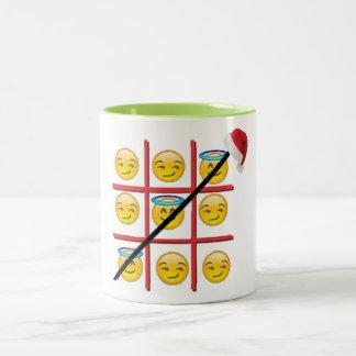 fun emoji tic-tac-toe emoji christmas mug-design Two-Tone coffee mug