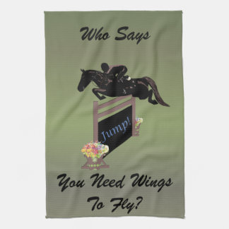 Fun Equestrian Horse Jumper Kitchen Towel