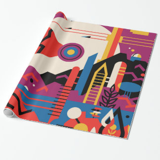 Fun faces celebrating with glee and smiles wrapping paper