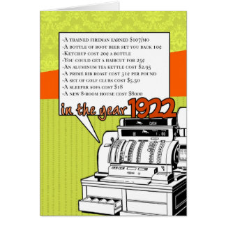 Fun Facts Birthday – Cost of Living in 1922 Greeting Card