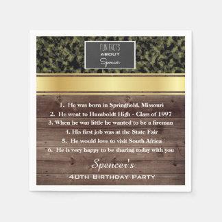 """Fun Facts""  Elegant Camouflage Birthday Party Paper Napkin"