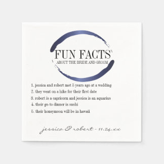 Fun Facts Modern Blue Brush Strokes Personalized Paper Napkins