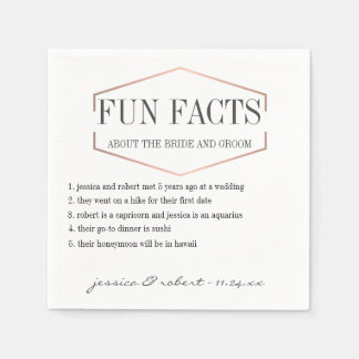 Fun Facts Rose Gold Personalized Paper Napkins
