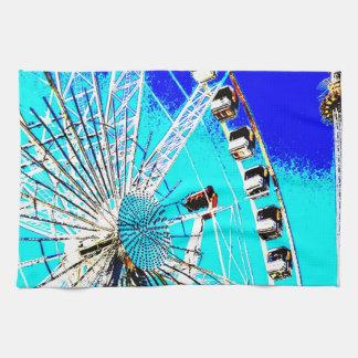 fun fair in amsterdam ferris wheel and high tower hand towel