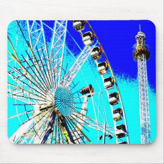 fun fair in amsterdam ferris wheel and high tower mouse pad