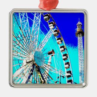 fun fair in amsterdam ferris wheel and high tower Silver-Colored square ornament