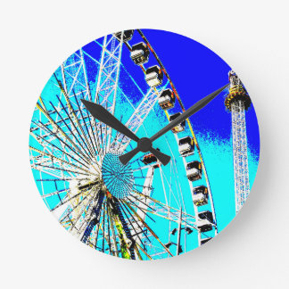 fun fair in amsterdam ferris wheel and high tower wallclocks