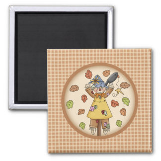 Fun Fall Scarecrow and Leaves on Plaid Pattern Magnet