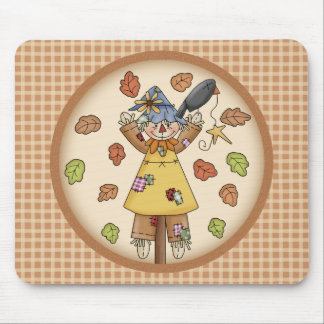 Fun Fall Scarecrow and Leaves on Plaid Pattern Mouse Pads