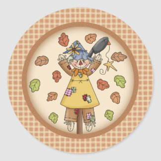 Fun Fall Scarecrow and Leaves on Plaid Pattern Round Sticker