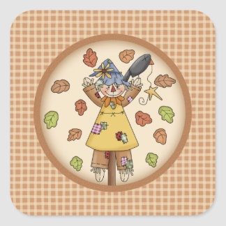 Fun Fall Scarecrow and Leaves on Plaid Pattern Square Stickers
