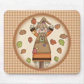 Fun Fall Scarecrow on Tan Plaid Pattern Background Mousepads
