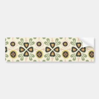 Fun Fall Tan and Green Floral Pattern Bumper Sticker