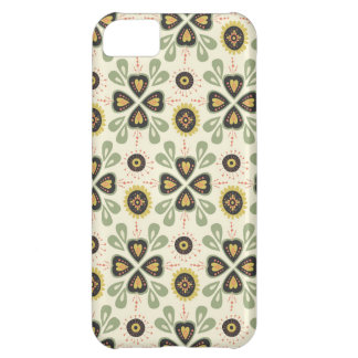 Fun Fall Tan and Green Floral Pattern Cover For iPhone 5C