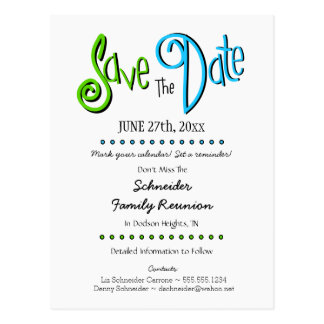 Fun Family Reunion or Party Save the Date Postcard
