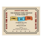 Fun Family Reunion Ticket to Save the Date Postcard