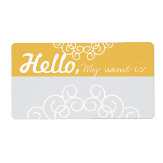 Fun Fancy Party Name Tags - Yellow & Gray