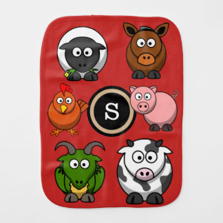 Fun Farm Animals Burp Cloth