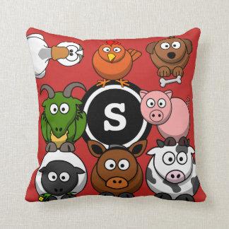 Fun Farm Animals Throw Pillow