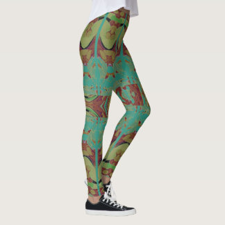 Fun Fashion Leggings-Aqua/Green/Rust/Tan Leggings