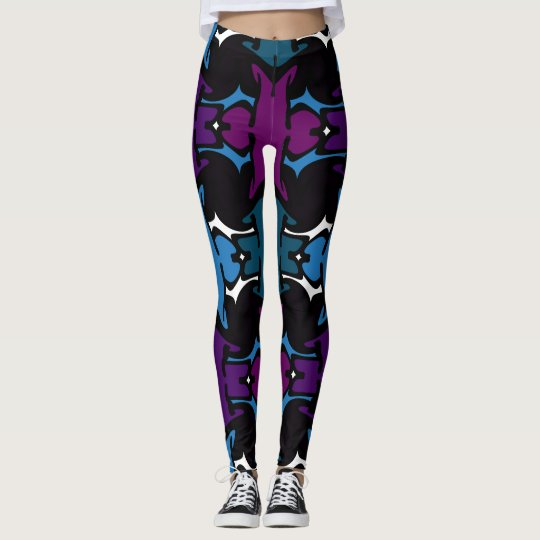 Fun Fashion Leggings-Blue/Purple/Teal/Black/White Leggings