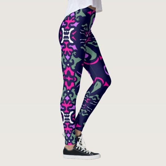 Fun Fashion Leggings-Navy Blue/Pink/White/Teal Leggings