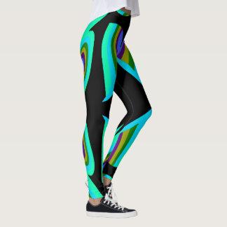 Fun Fashion Leggings-Turquoise/Black/Gold/Green Leggings