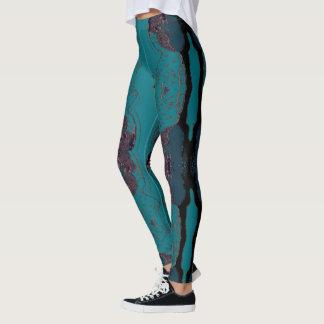 Fun Fashion Leggings - Women --Blue/Mauve/Black