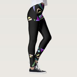 Fun Fashion Leggings-Women-Multicolored on Black Leggings