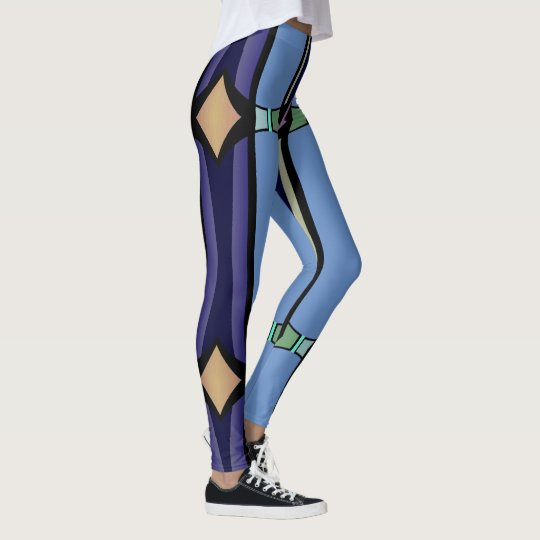 Fun Fashion Leggings-Women-Tan/Blue/Lavender Leggings