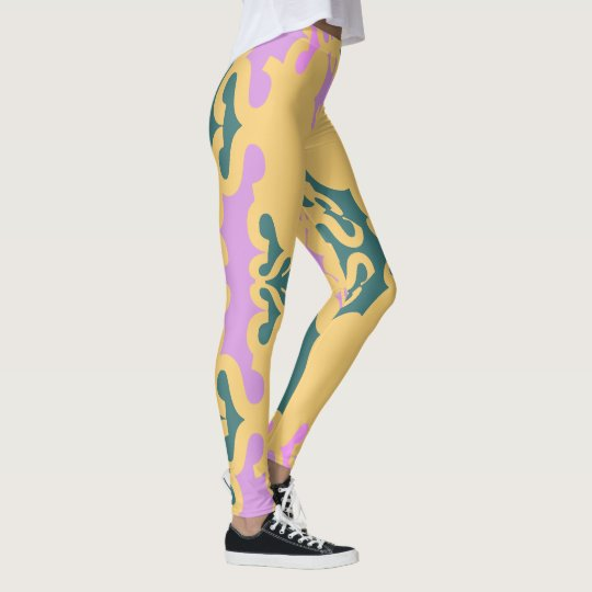 Fun Fashion Leggings-Women-Teal/Lavender/Gold Leggings