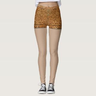 Fun Faux Leopard Print Hot Pants Monogram Leggings