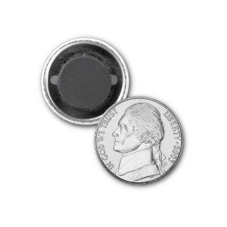 Fun Faux Nickel Coin Refrigerator Magnet