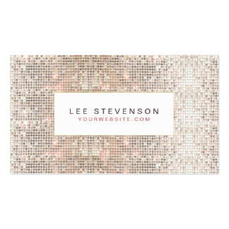 Fun Faux Silver Sequins Beauty and Fashion Retro Business Card Templates