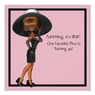 """Fun Favorite Diva Womans Black 40th Birthday Party 5.25"""" Square Invitation Card"""