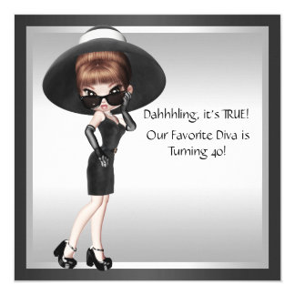 Fun Favorite Diva Womans Black Birthday Card