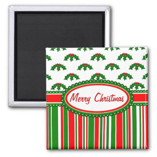 Fun, Festive Holly and Stripes Patterns Square Magnet
