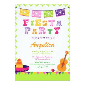 Fun fiesta party colorful birthday invitation