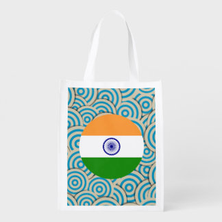 Fun Filled, Round flag of India Reusable Grocery Bag