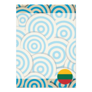"Fun Filled, Round flag of Lithuania 5"" X 7"" Invitation Card"