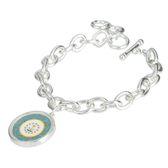 Fun Filled, Round flag of Rhode Island Charm Bracelet