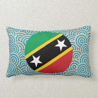 Fun Filled, Round flag of Saint Kitts and Nevis Lumbar Pillow