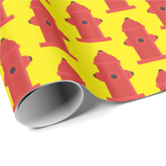Fun Fire hydrant pattern wrapping paper
