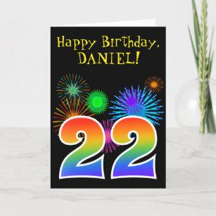 Fun Fireworks Rainbow Pattern 22 Birthday Card