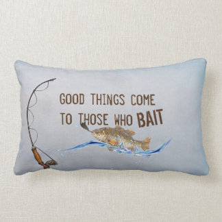 fun fishing quote with fishing pole lumbar pillow