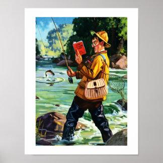 Fun Fishing Scene Vintage Art Print