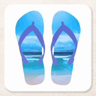 Fun Flip Flops Summer Beach Art for Vacation Square Paper Coaster