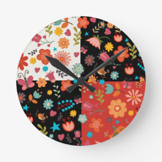 FUN FLORAL PATCHWORK WALL CLOCK